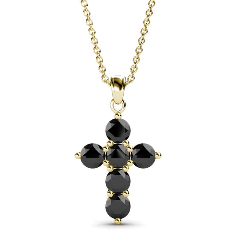 Black diamond cross pendant 095 ct tw in 14k yellow goldcluded 176185 aloadofball Images