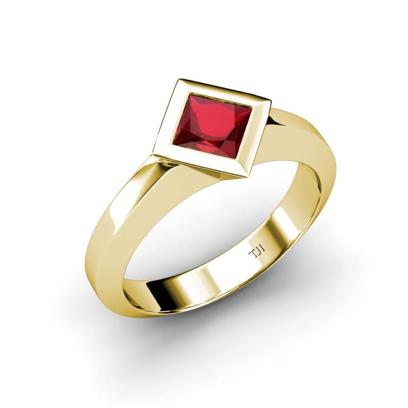 Lab Created Ruby East West Solitaire Ring 0 85 ct in 14K Yellow