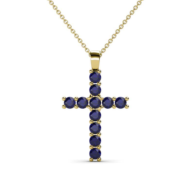Petite blue sapphire womens cross pendant necklace 035 ctw 14k 179281 aloadofball Image collections