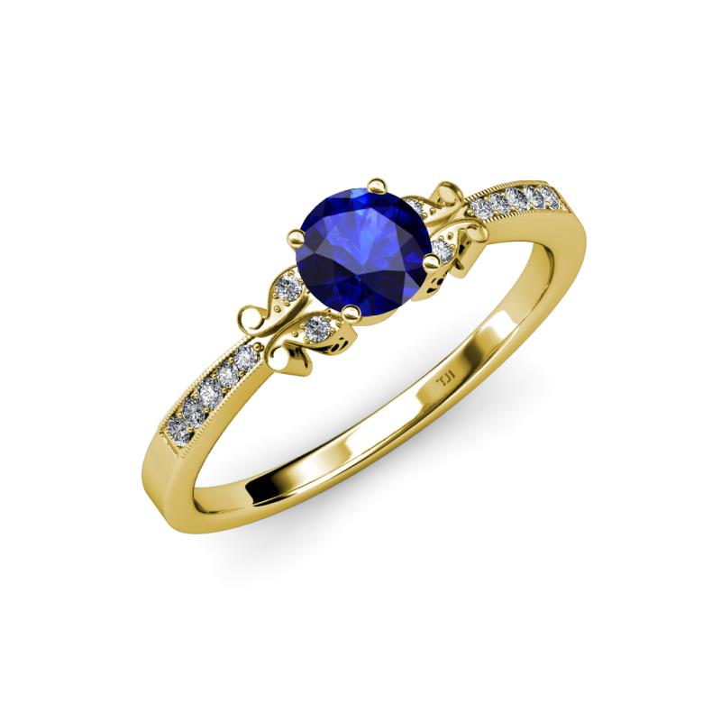 Blue Sapphire and Diamond SI2 I1 G H Butterfly Engagement Ring