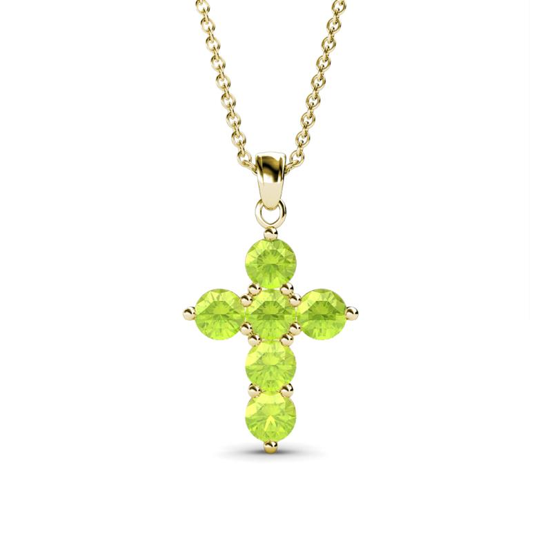 Peridot cross pendant 069 ct tw in 14k yellow goldcluded 18 180335 mozeypictures Image collections