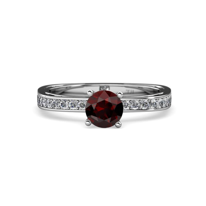 Red Garnet and Diamond SI2 I1 G H Euro Shank Engagement Ring