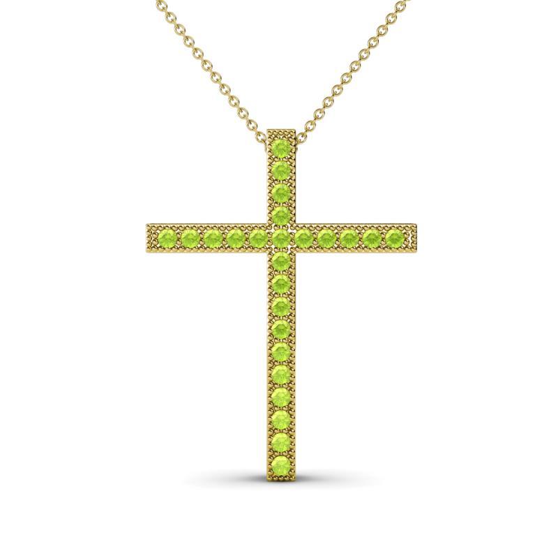 Petite peridot milgrain work cross pendant 026 ct tw in 14k yellow 181786 mozeypictures Gallery