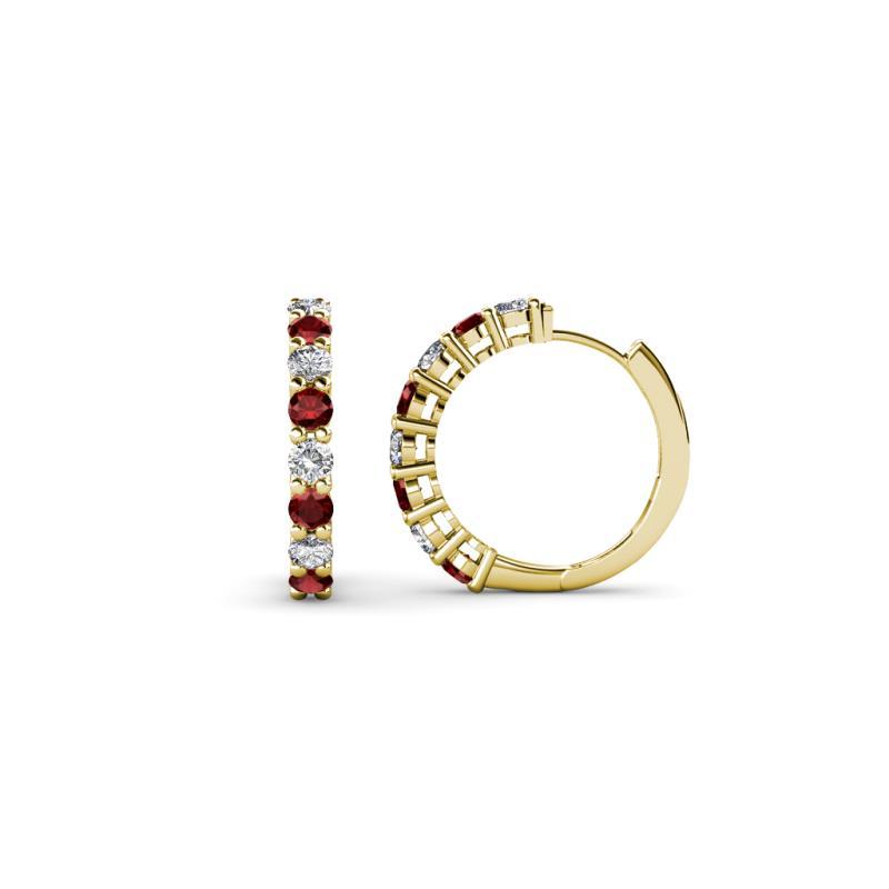Red Garnet Diamond I1 I2 H I Hoop Earrings 0 60 Ct Tw In 14k Yellow Gold Trijewels
