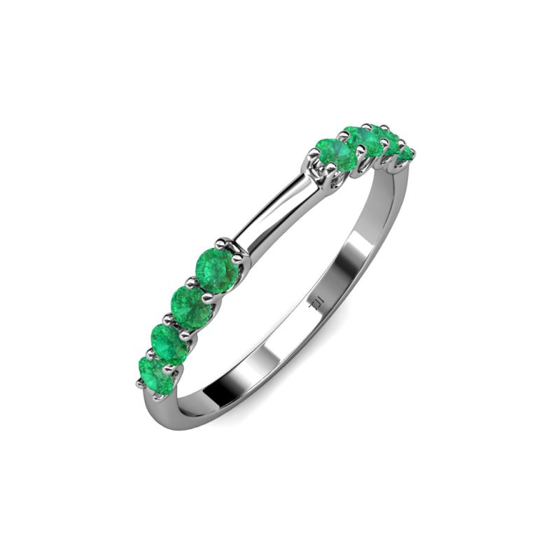 Emerald 8 Stone Wedding Band 040 cttw in 14K White Gold TriJewels