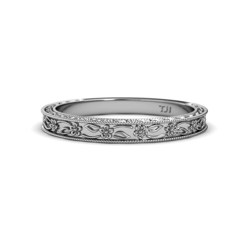 Floral Engraved Womens Wedding Band Stackable With