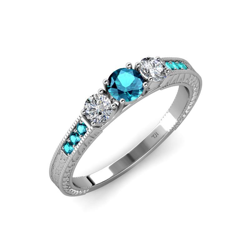Well-known London Blue Topaz and Diamond (SI2-I1, G-H) Milgrain Work Three  BW97