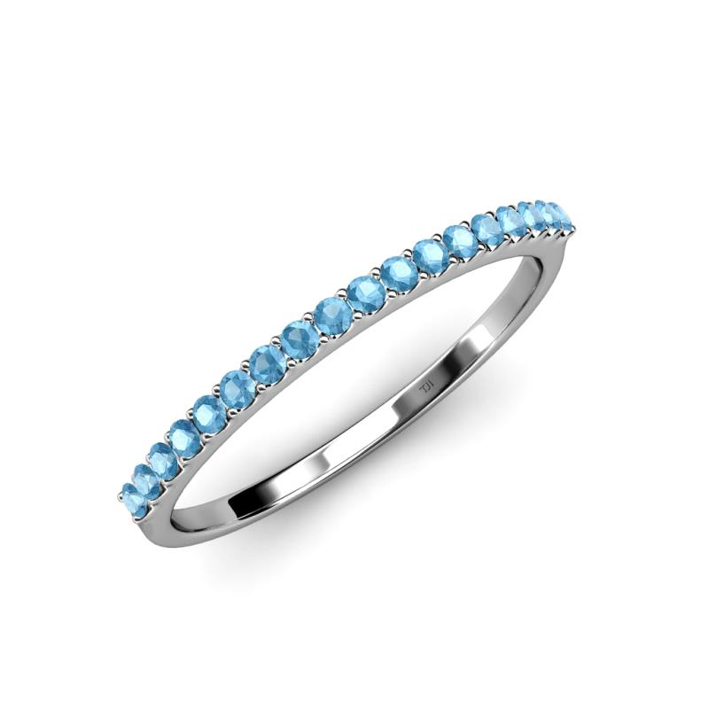 Blue Topaz 18 Stone Wedding Band 027 cttw in 18K White Gold