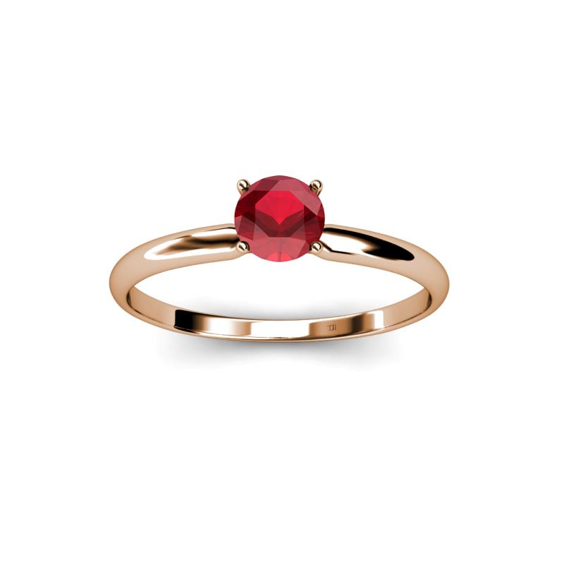 Greatest Ruby Solitaire Ring 0.53 ct in 14K Rose Gold. | TriJewels TI01