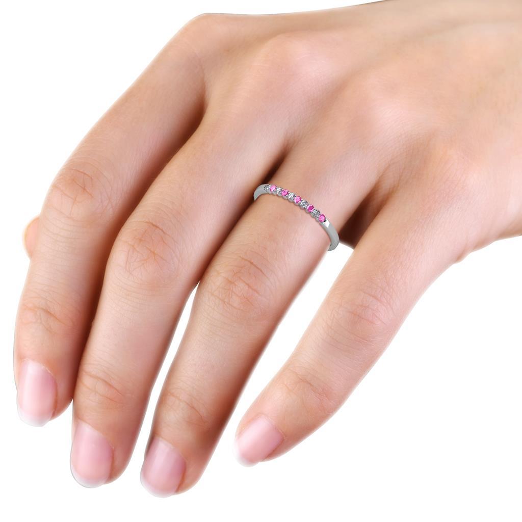 Clara 200 Mm Pink Sapphire And Diamond Wedding Band