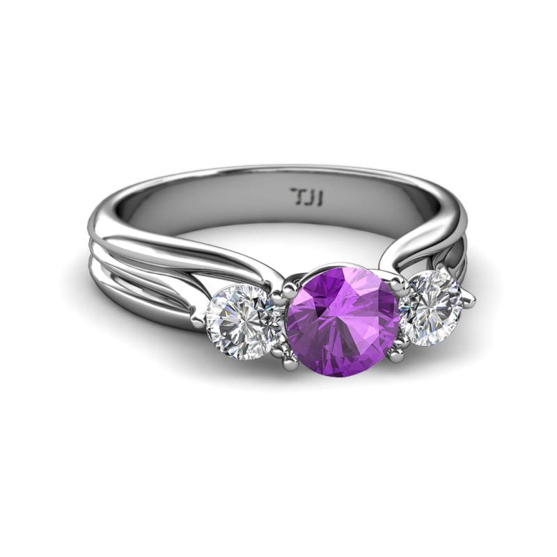 Amethyst and Diamond SI2 I1 G H Three Stone Ring with Thick