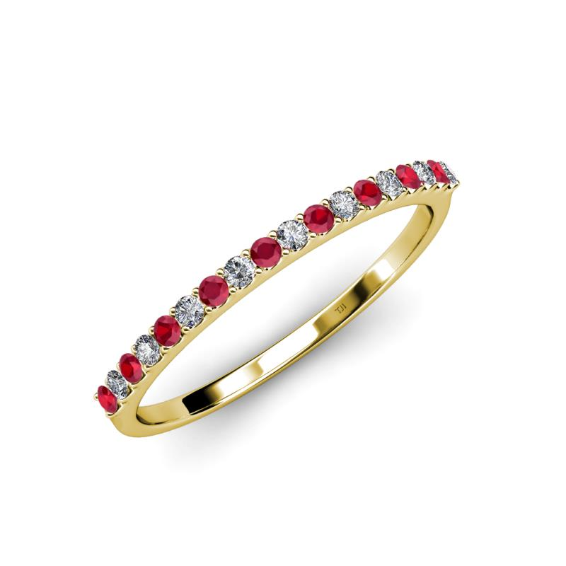 Ruby and Diamond SI2I1 GH 18 Stone Wedding Band 028 cttw in