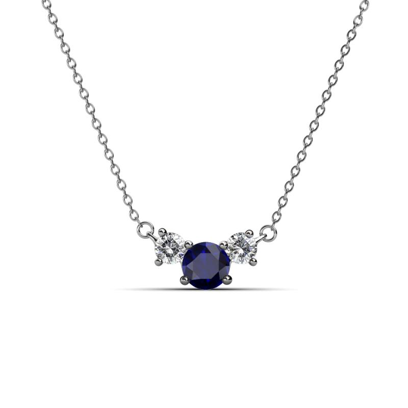 Blue sapphire and diamond womens three stone pendant necklace 067 200329 aloadofball Gallery