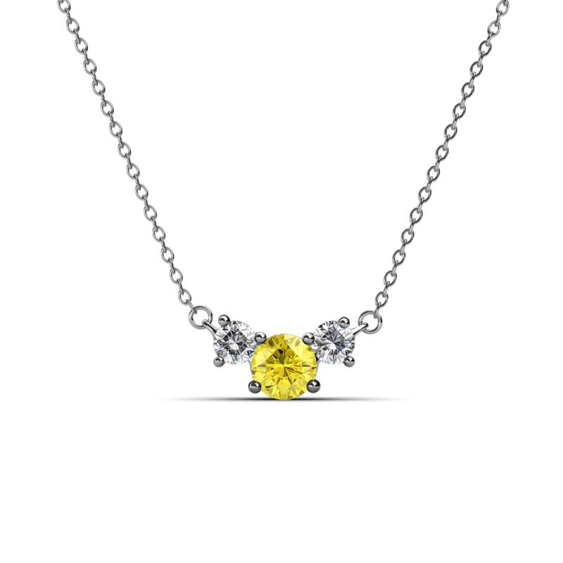 Yellow sapphire and diamond three stone pendant 067 cttw in 14k 200341 aloadofball Choice Image