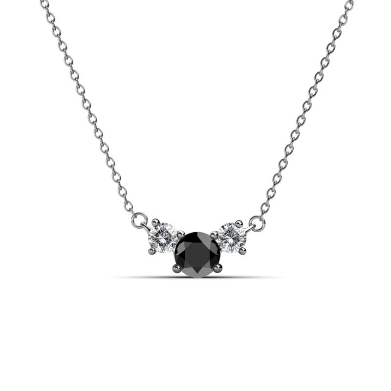 Black and white diamond womens three stone pendant necklace 070 ctw 200509 aloadofball Images