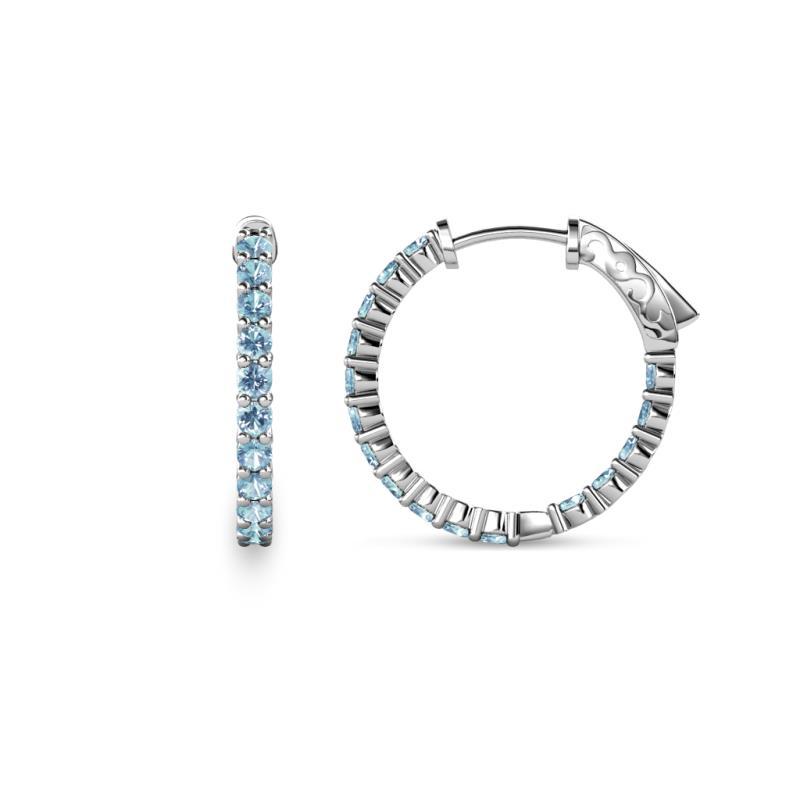 Aquamarine Inside Out Womens Hoop Earrings 0 80 Ct Tw 14k White Gold Trijewels