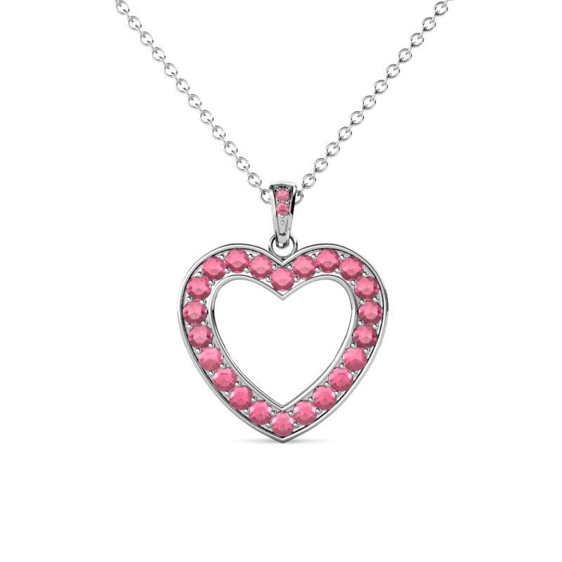 Rhodolite garnet heart pendant 081 ct tw in 14k white gold 224648 mozeypictures Images