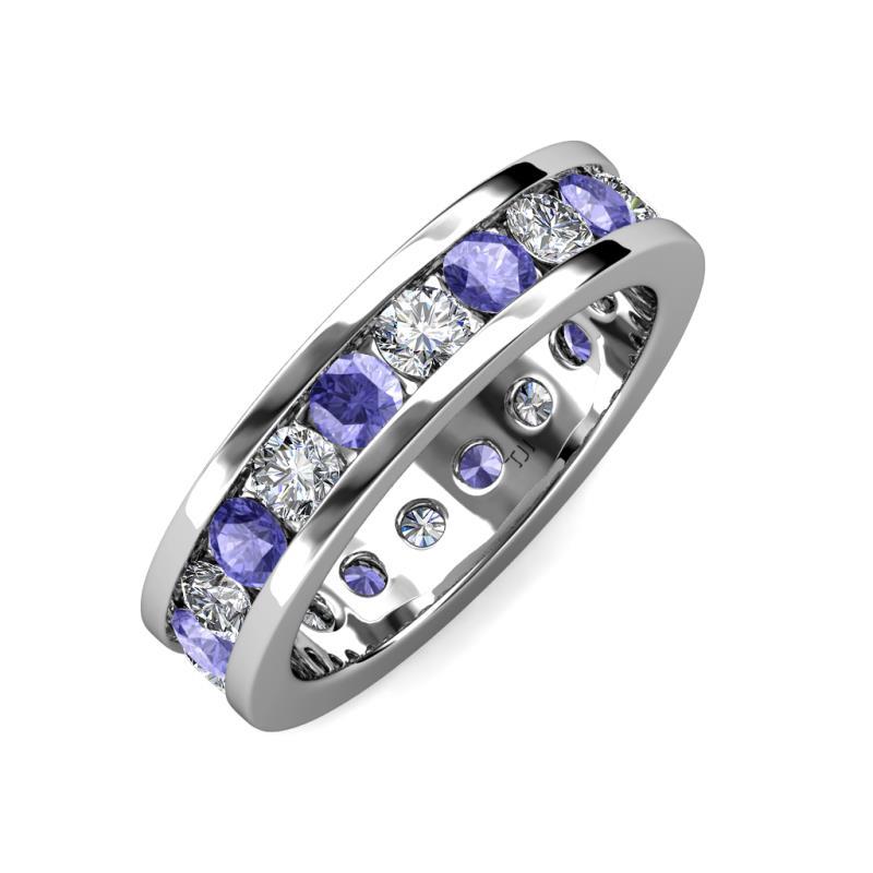 Tanzanite And Diamond Channel Set Womens Eternity Ring