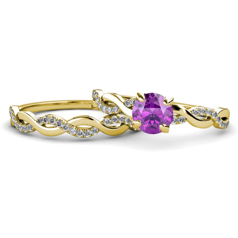 Amethyst And Diamond Infinity Womens Engagement Ring Matching