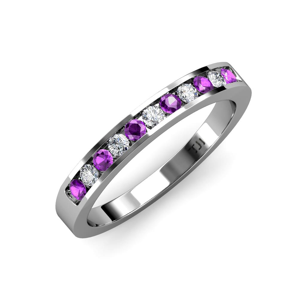 Amethyst and Diamond 11 Stone Channel Set Wedding Band 028 cttw in