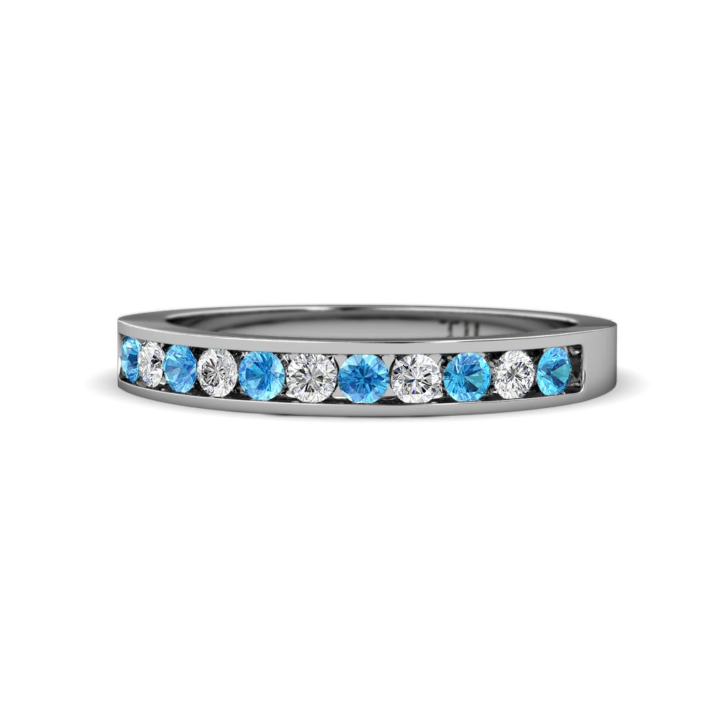Blue Topaz Wedding Band | Blue Topaz And Diamond Channel Set Womens Wedding Band Stackable