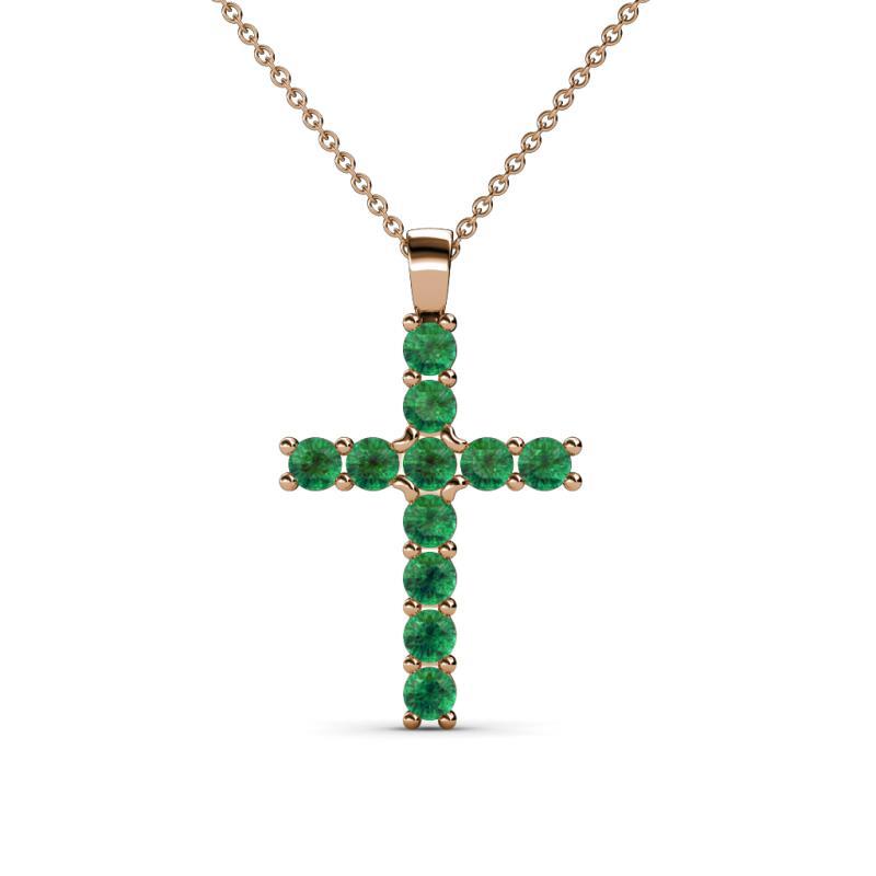 Petite emerald womens cross pendant necklace 032 ctw 14k rose gold 2400275 aloadofball Gallery