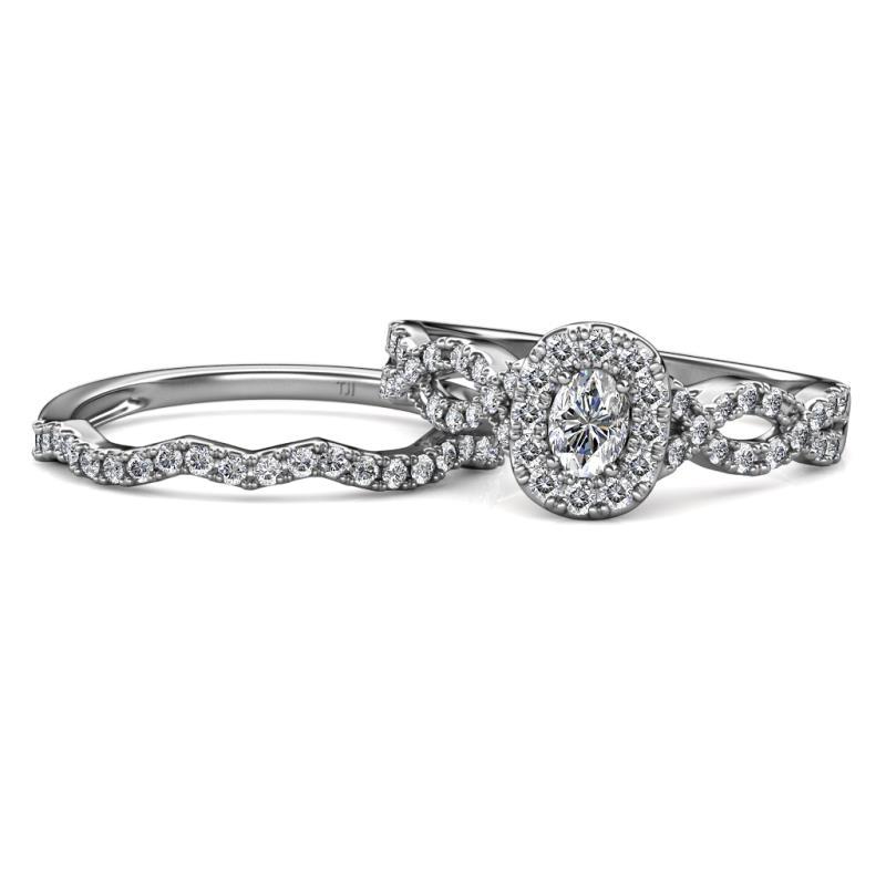 Oval Diamond Infinity Halo Engagement Ring & Wedding Band 0.90 Carat ...