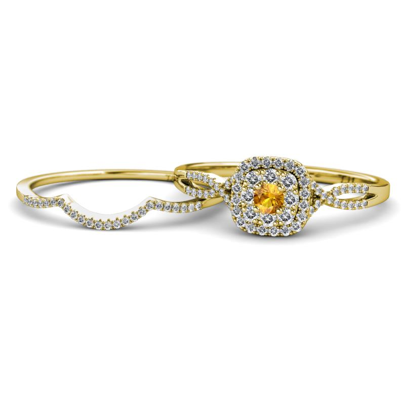 Citrine Diamond Women Split Shank Double Halo Engagement Ring
