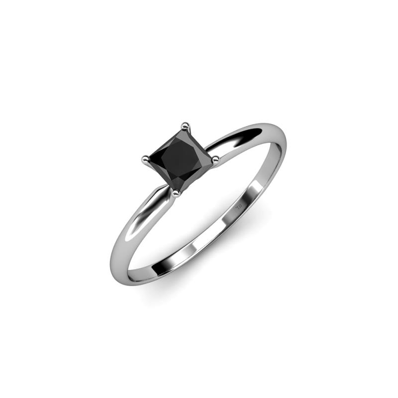 princess cut black diamond womens solitaire engagement ring 1 00 ct