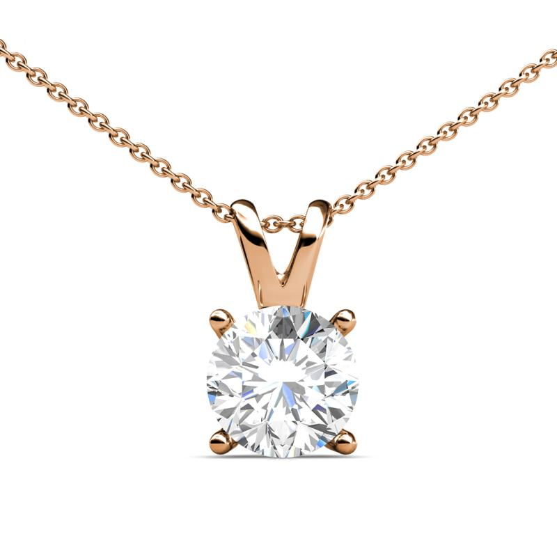Diamond double bail womens solitaire pendant necklace 055 ct 14k diamond solitaire pendant aloadofball Image collections