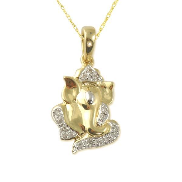Natural white round diamond 010cttw si clarity gh color ganesh religious pendant aloadofball Choice Image