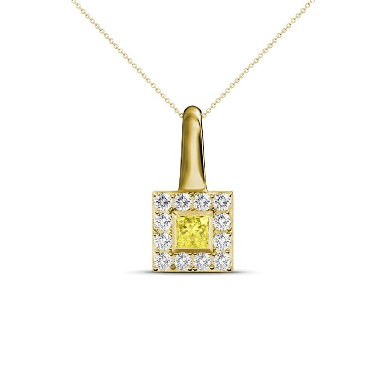 Yellow sapphire and diamond square shape womens pendant necklace 333104 aloadofball Image collections