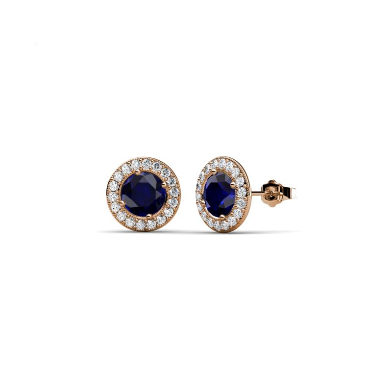 blue sapphire womens halo stud earrings ctw 14k rose. Black Bedroom Furniture Sets. Home Design Ideas