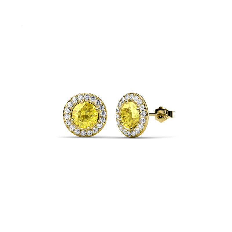 image gold collection solitaire diamond yellow earrings stud