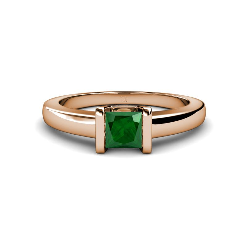 Emerald Channel Set Solitaire Ring 0 85 Carat in 14K Rose Gold
