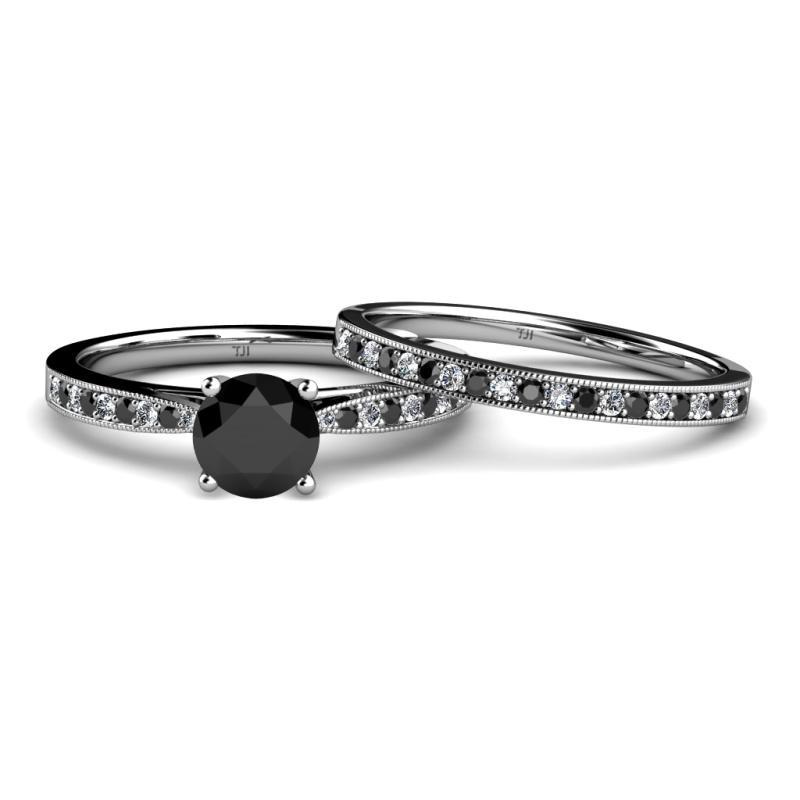 Black White Diamond Four Prong Milgrain Work Bridal Set