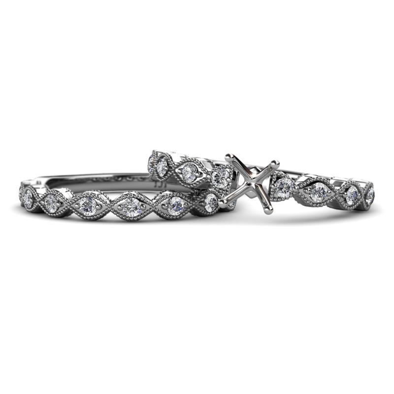 Diamond Four Prong Swirl Semi Mount Engagement Ring Setting