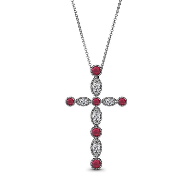 842b22c7a8b9 Petite Ruby and Diamond Marquise and Dot Womens Cross Pendant ...