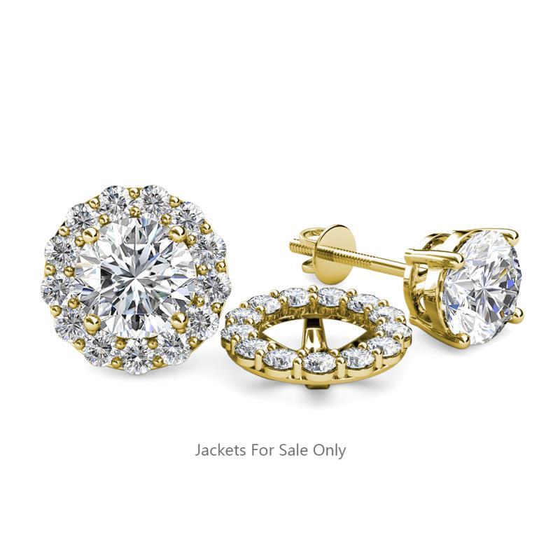 serena diamond jacket earrings diamond halo jacket for stud earrings si2i1 gh 078 ct tw in 14k yellow gold trijewels