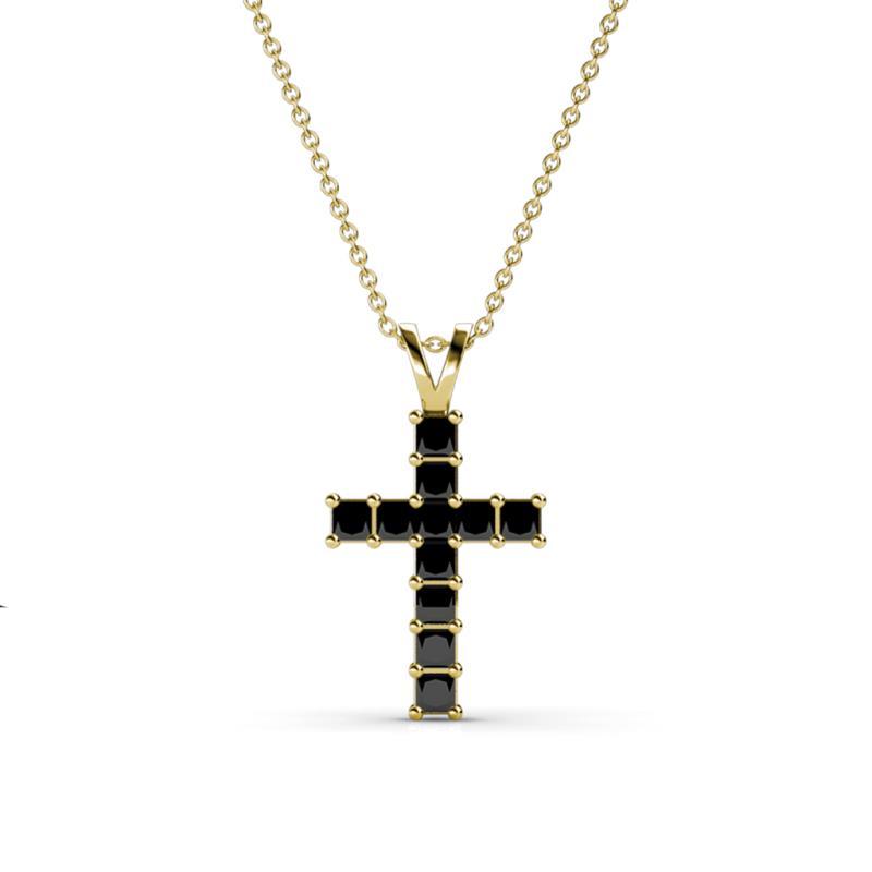 Princess cut 2 mm black diamond womens cross pendant necklace 077 375214 aloadofball Choice Image
