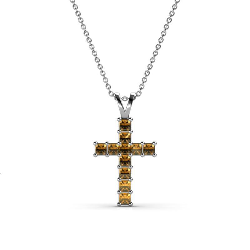 Citrine princess cut cross pendant 061 ct tw in 14k white gold 375306 aloadofball Gallery