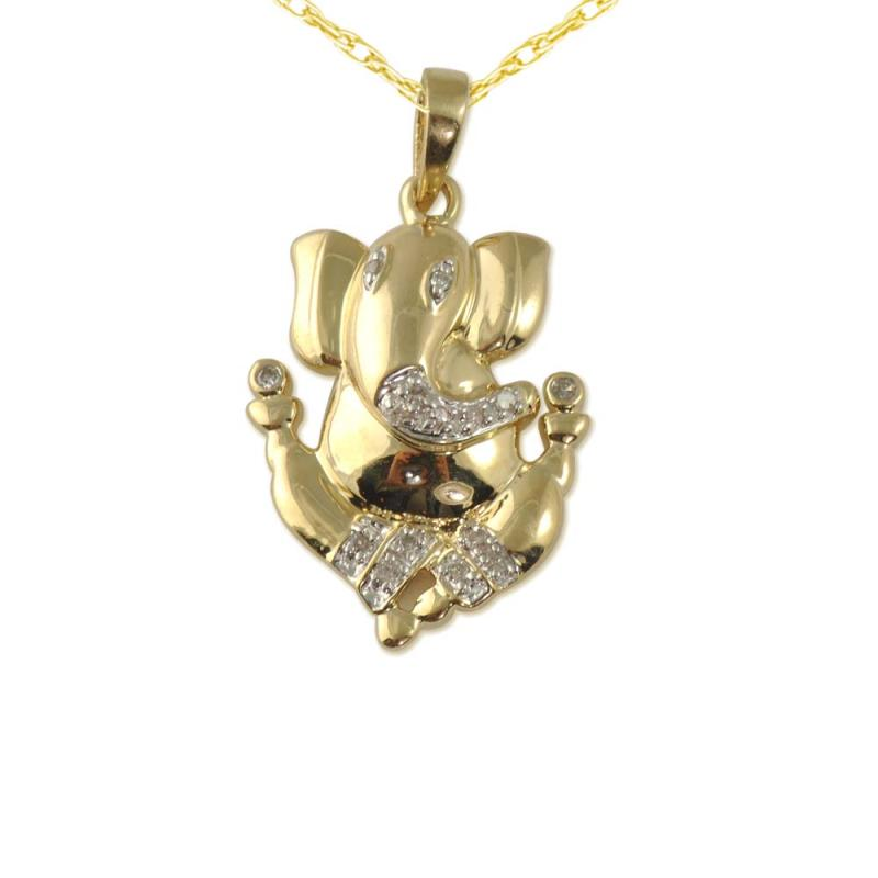 Diamond lord ganesh pendant in 14k yellow goldcluded 18 inches ganesh pendant aloadofball Image collections