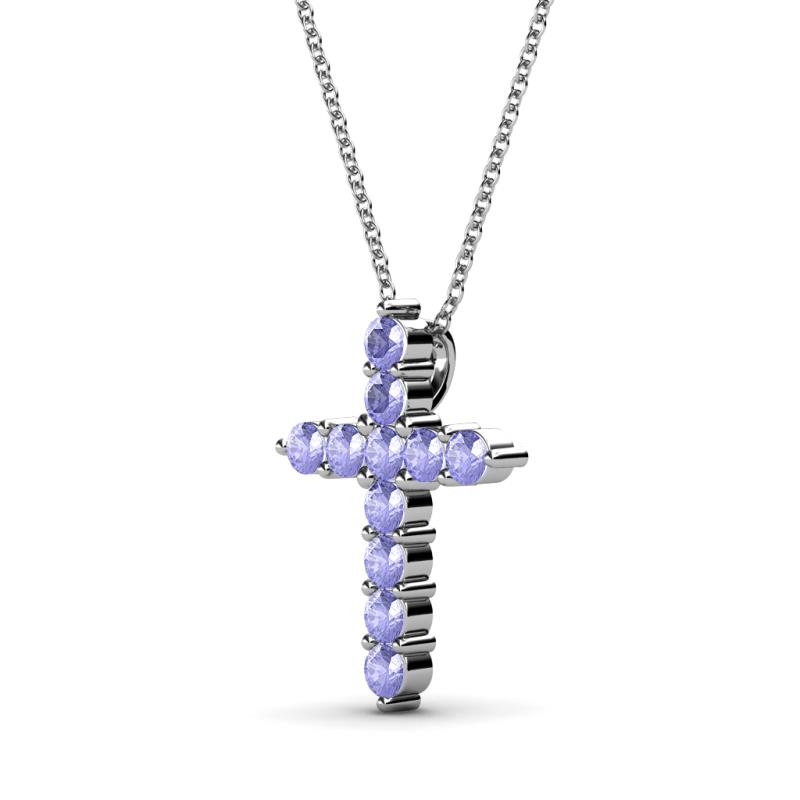 Tanzanite cross pendant 055 ct tw in 14k white goldcluded 18 product image product image aloadofball Choice Image