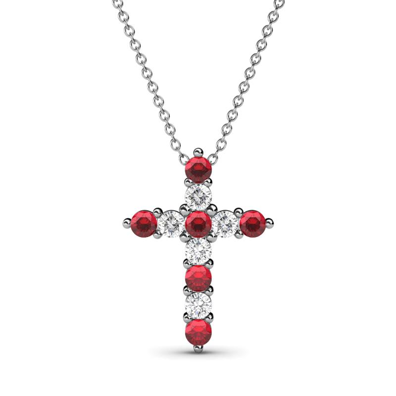 75658375e157 Ruby and Diamond Womens Cross Pendant Necklace 0.57 ctw 14K White Gold.Included  18 Inches 14K White Gold Chain. More Details. 5 (3 Reviews). 397160 ...