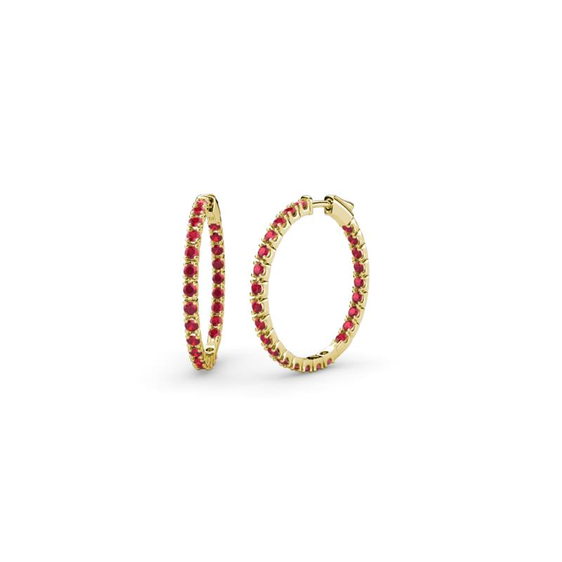 Ruby Inside Out Hoop Earrings 0 95 ct tw in 14K Yellow Gold