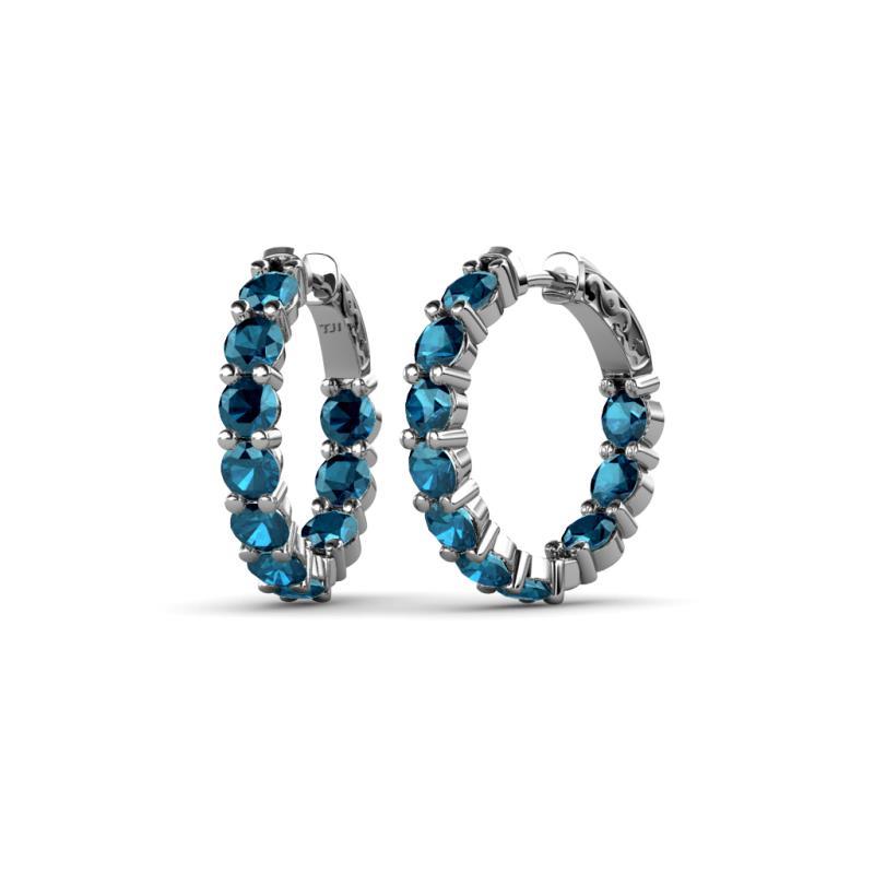 Blue Diamond Hoop Earrings