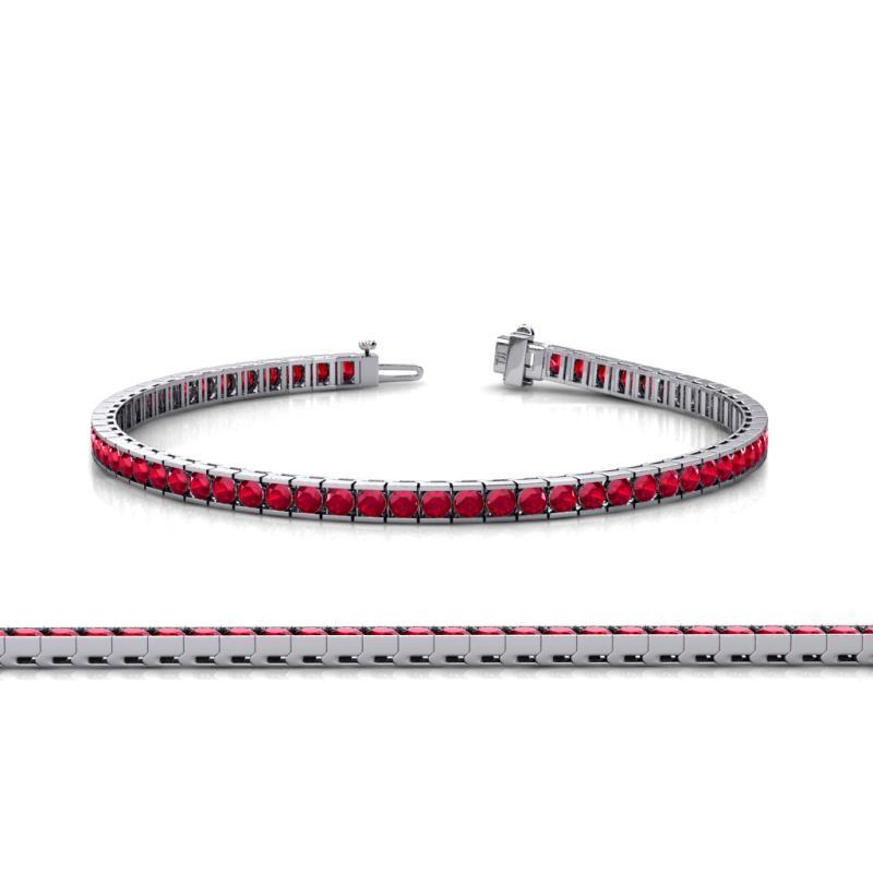 ruby channel set tennis bracelet 341 ct tw in 14k white