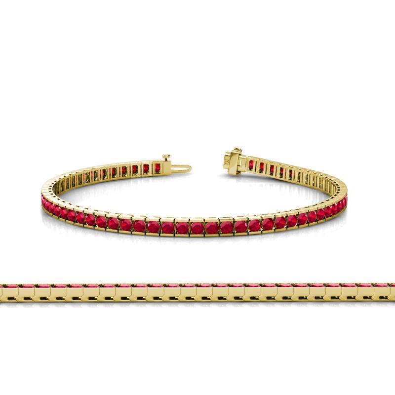 Ruby Channel Set Tennis Bracelet 3 41 Ct Tw In 14k Yellow