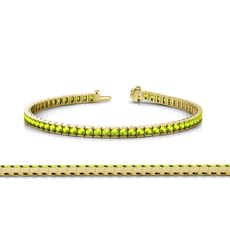 Abril 2 4mm Peridot Tennis Bracelet Channel Set 4 10 Ct Tw In 14k Yellow Gold Trijewels