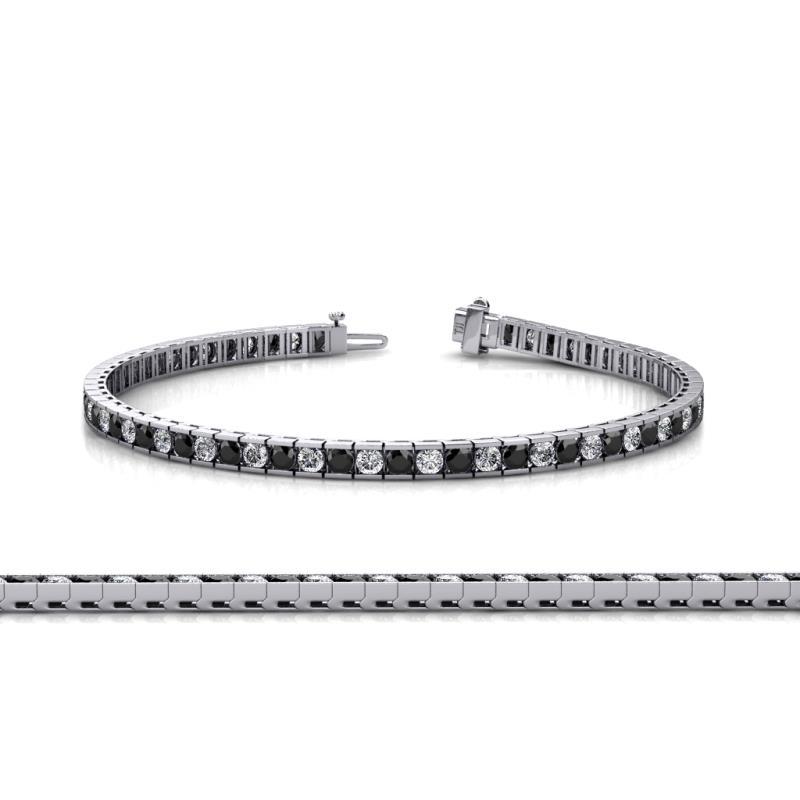 Black and White Diamond SI2 I1 G H Channel Set Tennis Bracelet
